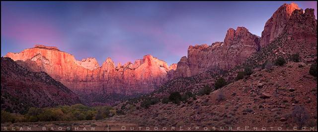 Illumination Of The Alter Of Sacrifice Panorama Stock Image, Zion, Utah
