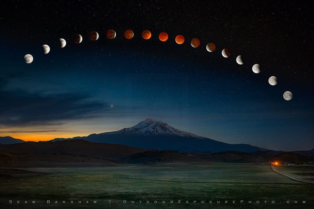 Eclipse Over Mt. Shasta Revisited Print, Shasta Valley, California