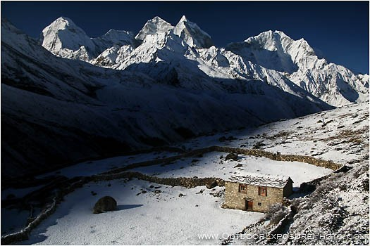 Summer Farm House In The Snow Print,  Nepal