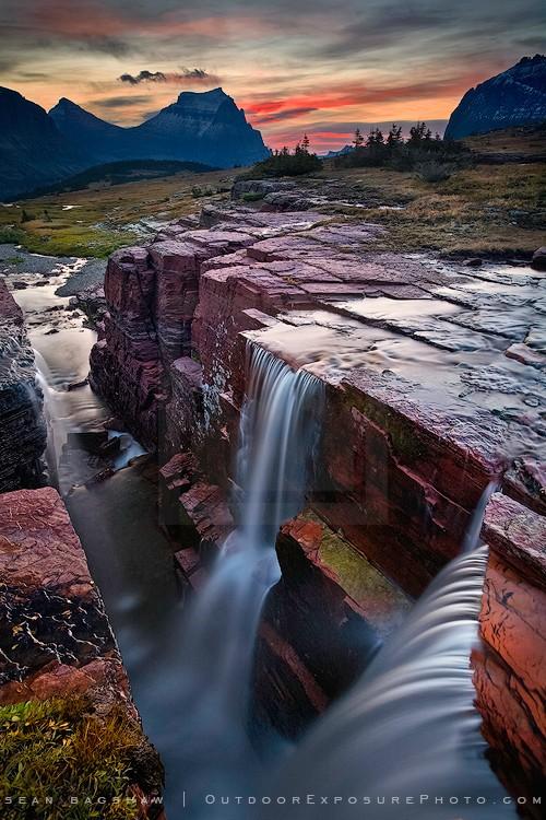 Double Falls Print Glacier National Park, Montana