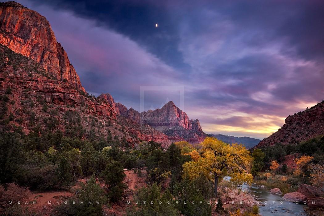 Zion Twilight Moon Print, Zion, Utah