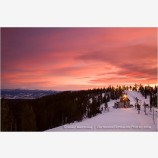 Red Sky Over Mt. Ashland Lodge Stock Image, Oregon