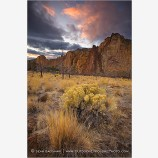 Smith Rock Sunset Stock Image, Oregon