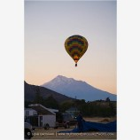 Hot Air Balloon Over Mt. Shasta Stock Image,