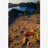 Sunrise on Crater Lake Rim Stock Image,
