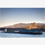 River Barge by Beacon Rock Stock Image Columbia River, Oregon