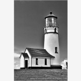 Cape Blanco Lighthouse Black and White Stock Image, Cape Blanco, Oregon
