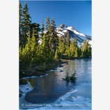 Mt. Jefferson Over Frozen Lake 5 Stock Image Oregon Cascade Range
