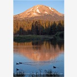 Mt. Lassen over Manzanita Lake 2 Stock Image Lassen Volcanic National Park, California