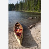 Canoe along Shore Stock Image, Waldo Lake, Oregon
