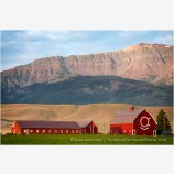 Red Barn under Wallowa Mountains Stock Image, Joseph, Oregon