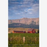 Red Barn under Wallowa Mountains 3 Stock Image, Joseph, Oregon