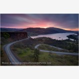 Rowena Curves Sunrise Stock Image, Columbia River, Oregon