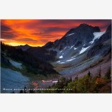Cascade Pass Sunrise 2 Stock Image, North Cascades National Park