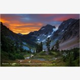 Cascade Pass Sunrise 3 Stock Image, North Cascades National Park