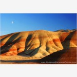 Moonrise Over The Painted Hills II Stock Image, Wheeler County, Oregon