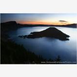 Wizard Island At Sunrise Stock Image, Crater Lake, Oregon