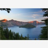 Sunrise On Lao Rock Stock Image, Crater Lake, Oregon