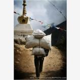 Porter Passing A Stupa Stock Image, Kathmandu, Nepal
