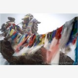 Prayer Flags In The Fog, Gokyo Ri Stock Image, Khumbu, Nepal