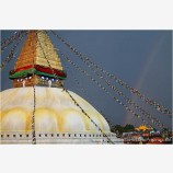 Boudhanath And Rainbow Stock Image, Kathmandu, Nepal