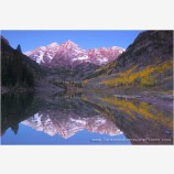Maroon Bells Reflection Stock Image, Elk Mountains, Colorado