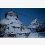 Stupa Beneath Tawoche Peak Stock Image, Mt. Everest Region, Nepal