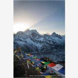 Sun Rays And Prayer Flags Radiating From Mt. Everest Print, Gokyo Ri, Nepal