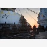 Sun Rising On A Lone Worshiper Swayambhunath Stock Image, Kathmandu, Nepal
