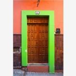 Green Door Frame Stock Image, Guanajuato, Mexico
