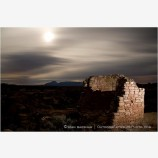 Full Moon and Anasazi Ruin Stock Image Hovenweep National Monument, Utah