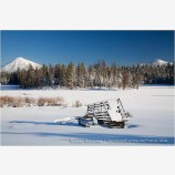Mt. McLoughlin and Old Barn in Winter Stock Image Ashland, Oregon