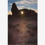 Sun through Turret Arch Stock Image, Arches National Park, Utah