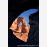 Delicate Arch through Frame Arch Stock Image, Arches National Park, Utah