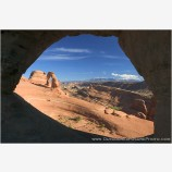 Delicate Arch through Frame Arch II Stock Image, Arches National Park, Utah