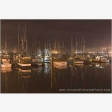Night Harbor Stock Image, Newport, Oregon