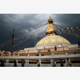 Dark Clouds Over Boudhanath Print, Kathmandu, Nepal