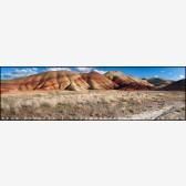 Painted Hills Panorama Stock Image, Oregon
