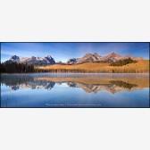 Little Redfish Lake Panorama Stock Image, Sawtooth Range, Idaho