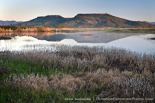 Table Rock Reflection 2 Stock Image Medford, Oregon - Wetland Stock Images - Landscape Stock Images - Stock Photography